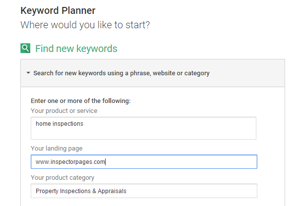 keyword research with keyword planner