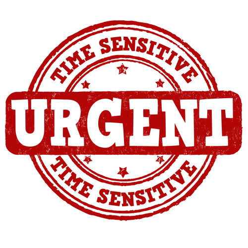 Urgent, time sensitive grunge rubber stamp on white background, vector illustration