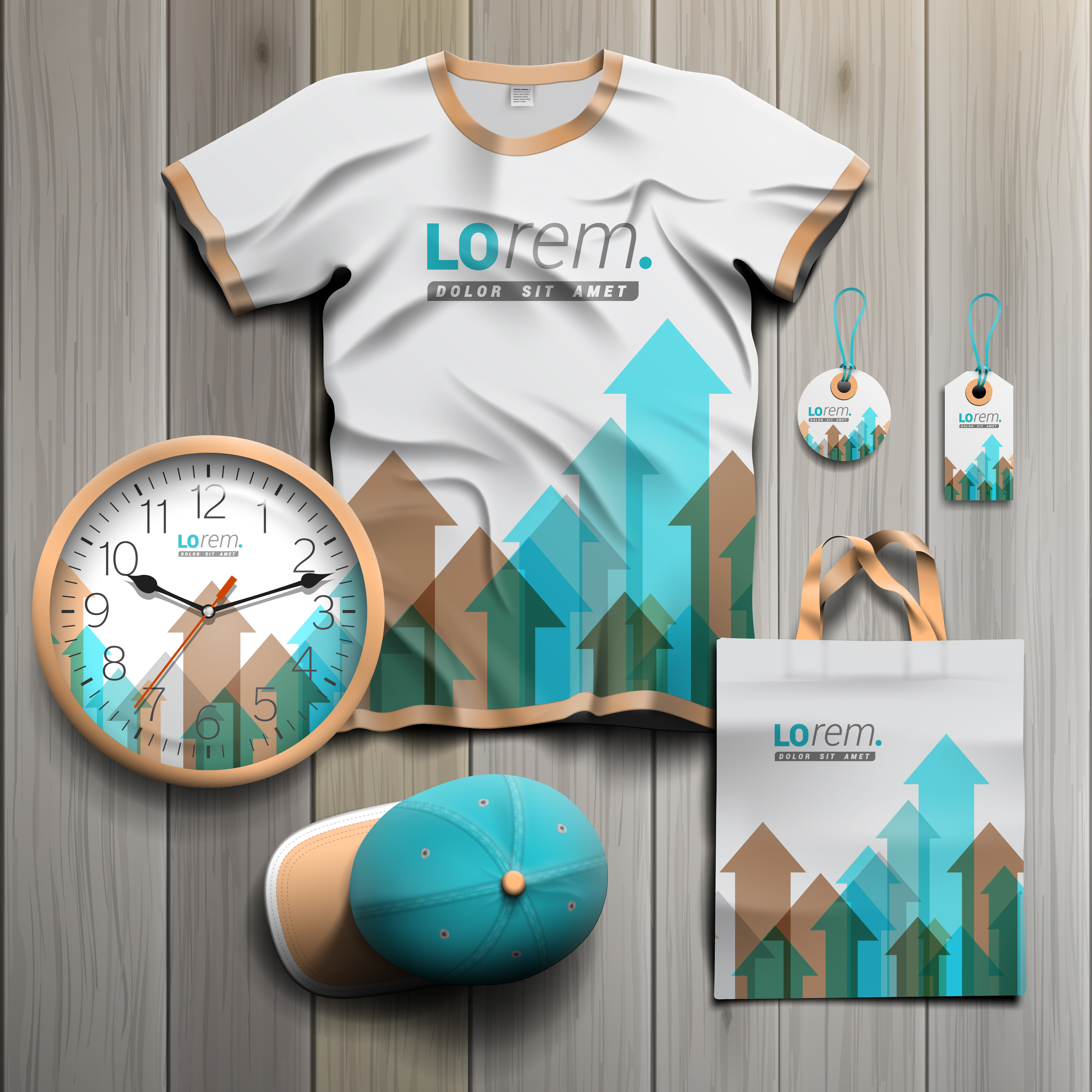 White promotional souvenirs design for corporate identity with blue and brown arrows. Stationery set